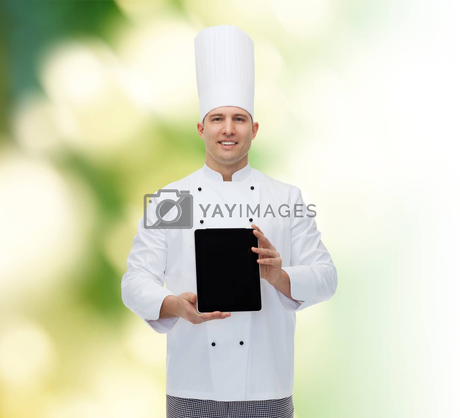 cooking, profession and people concept - happy male chef cook showing tablet pc computer black blank screen over green background