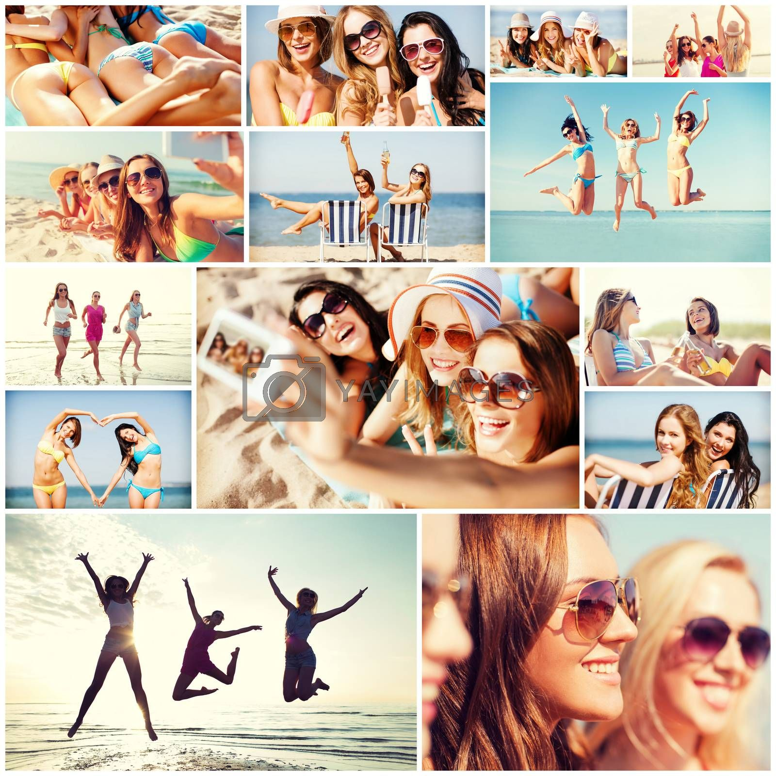 Royalty free image of girls having fun on the beach by dolgachov