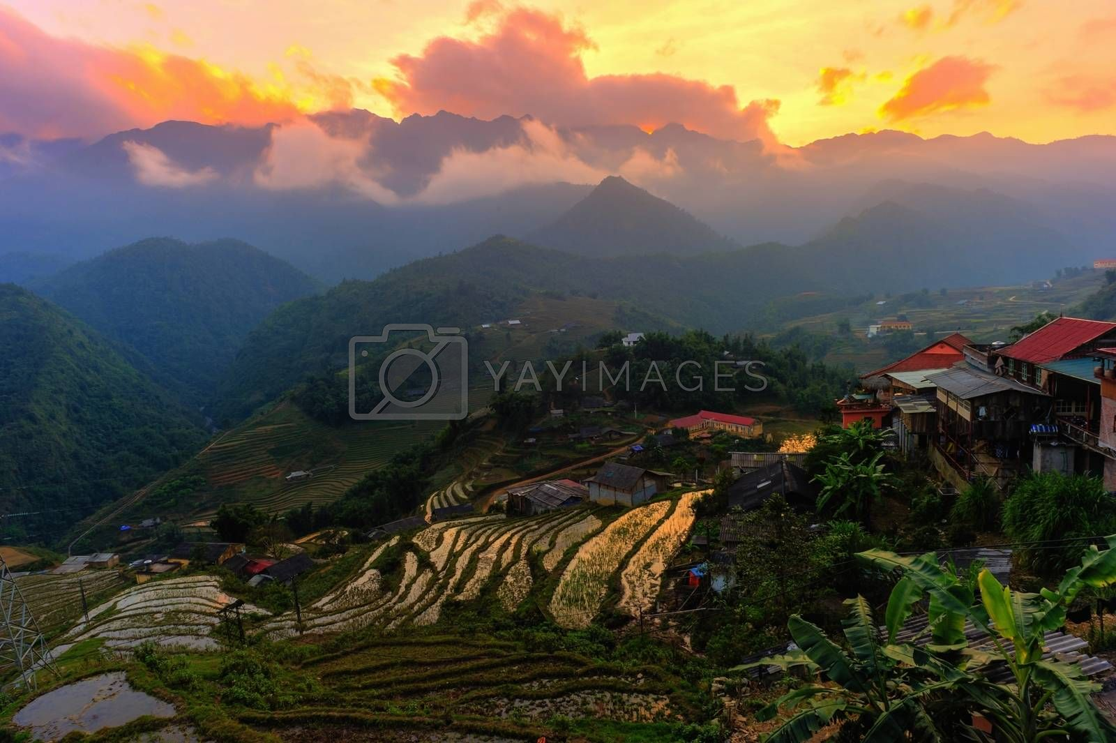 Beautiful  sunset at terraced of  Cat Cat Village,Vietnam. Photography techniques HDR process.