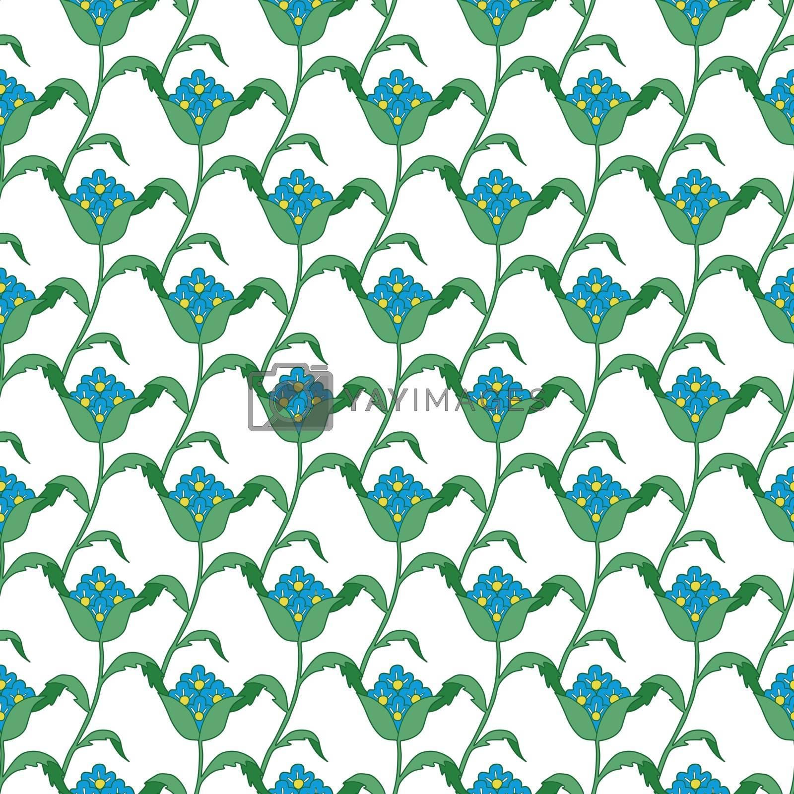 Vector Blue Green Turkish Flowers Geometric Seamless Pattern graphic design