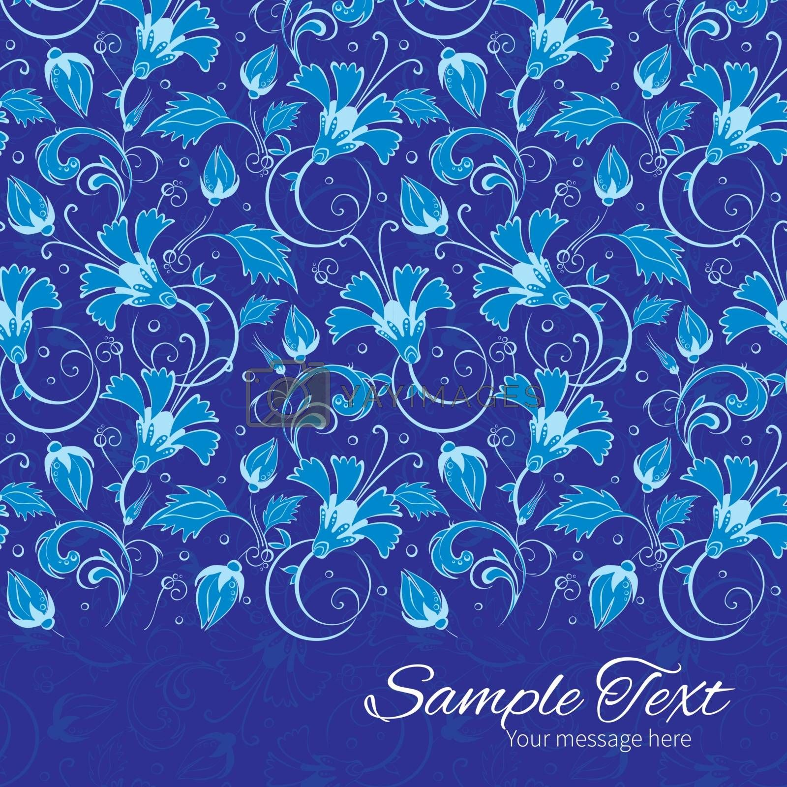 Vector dark blue turkish floral horizontal border card template graphic design