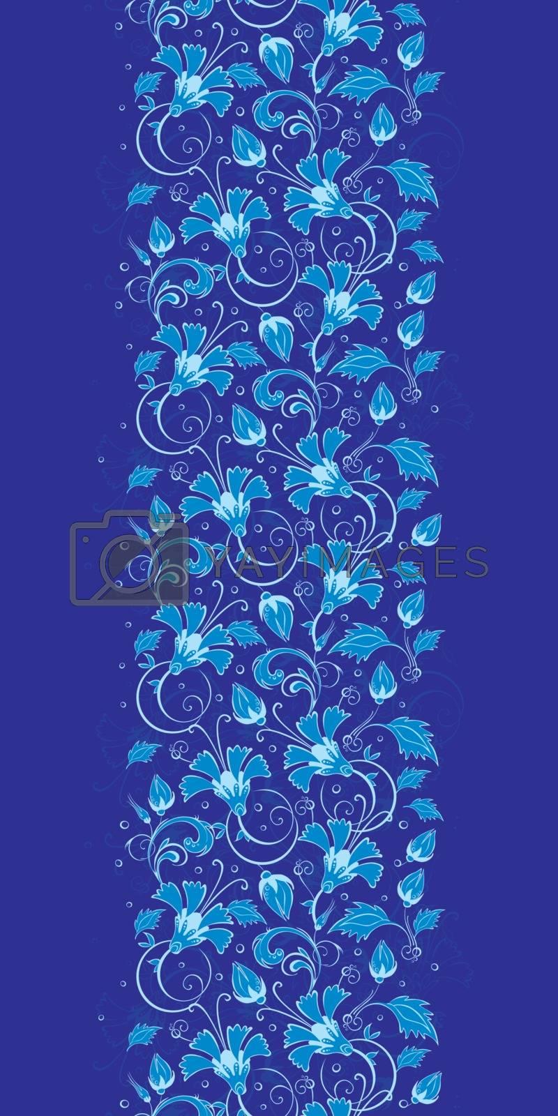 Vector dark blue turkish floral vertical border seamless pattern background graphic design