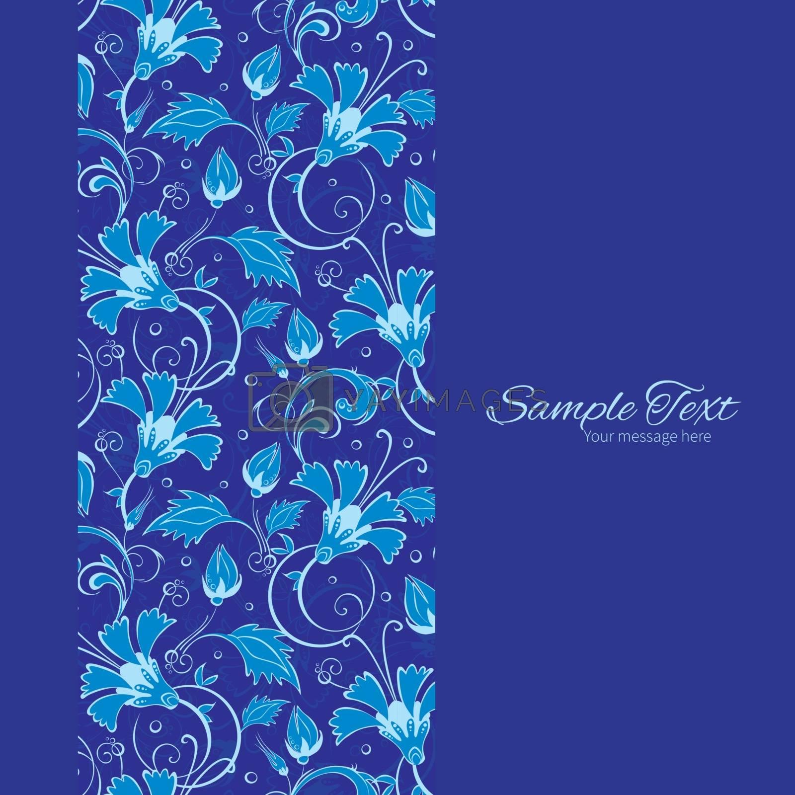 Vector dark blue turkish floral vertical frame seamless pattern background graphic design