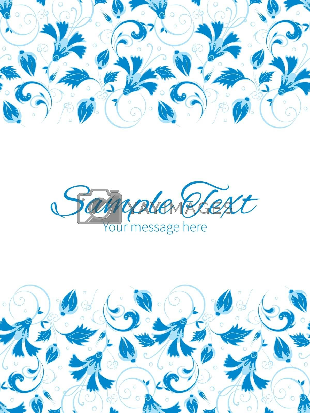 Vector dark blue turkish floral vertical double borders frame invitation template graphic design