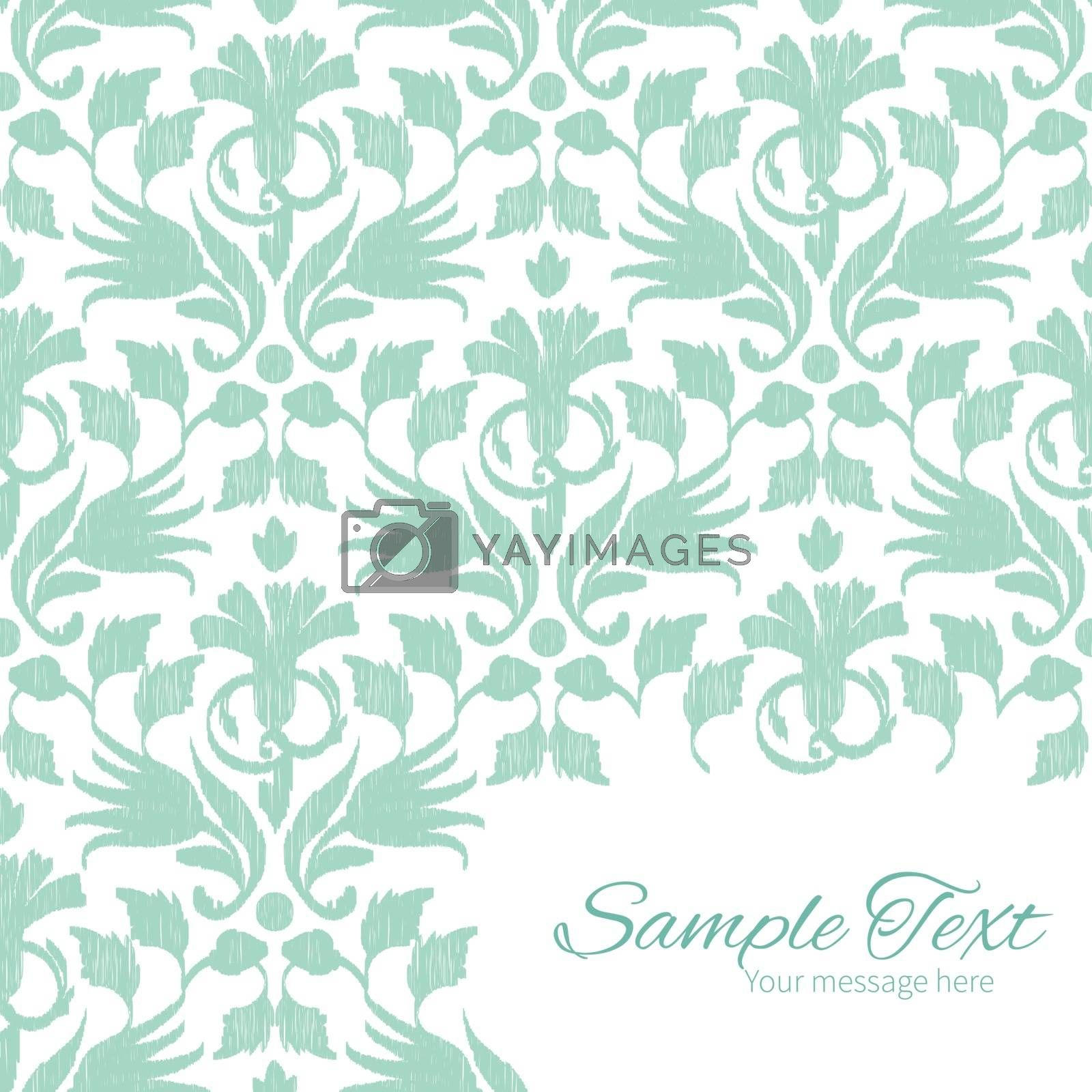 Vector abstract green ikat frame corner pattern background graphic design