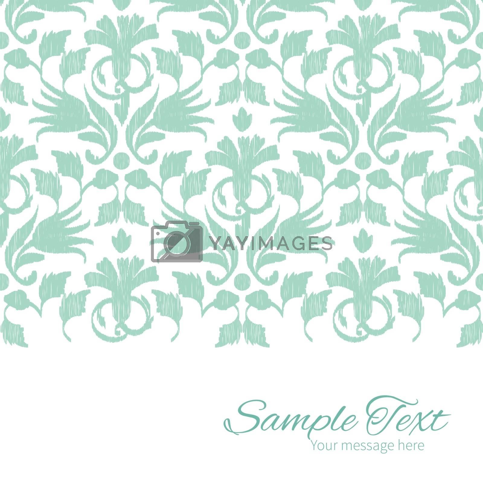 Vector abstract green ikat horizontal border card template graphic design