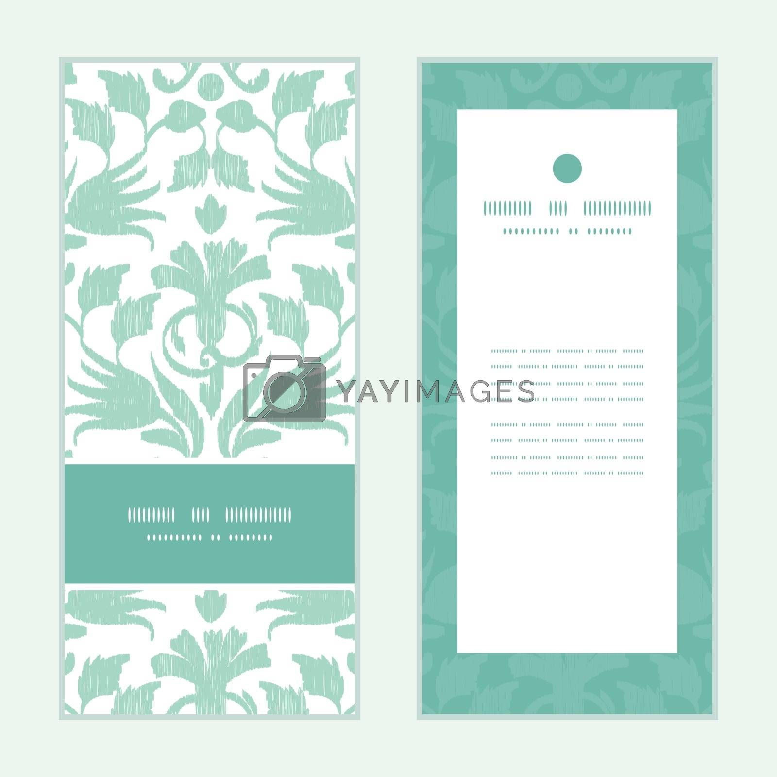 Royalty free image of Vector abstract green ikat vertical frame pattern invitation gre by Oksancia