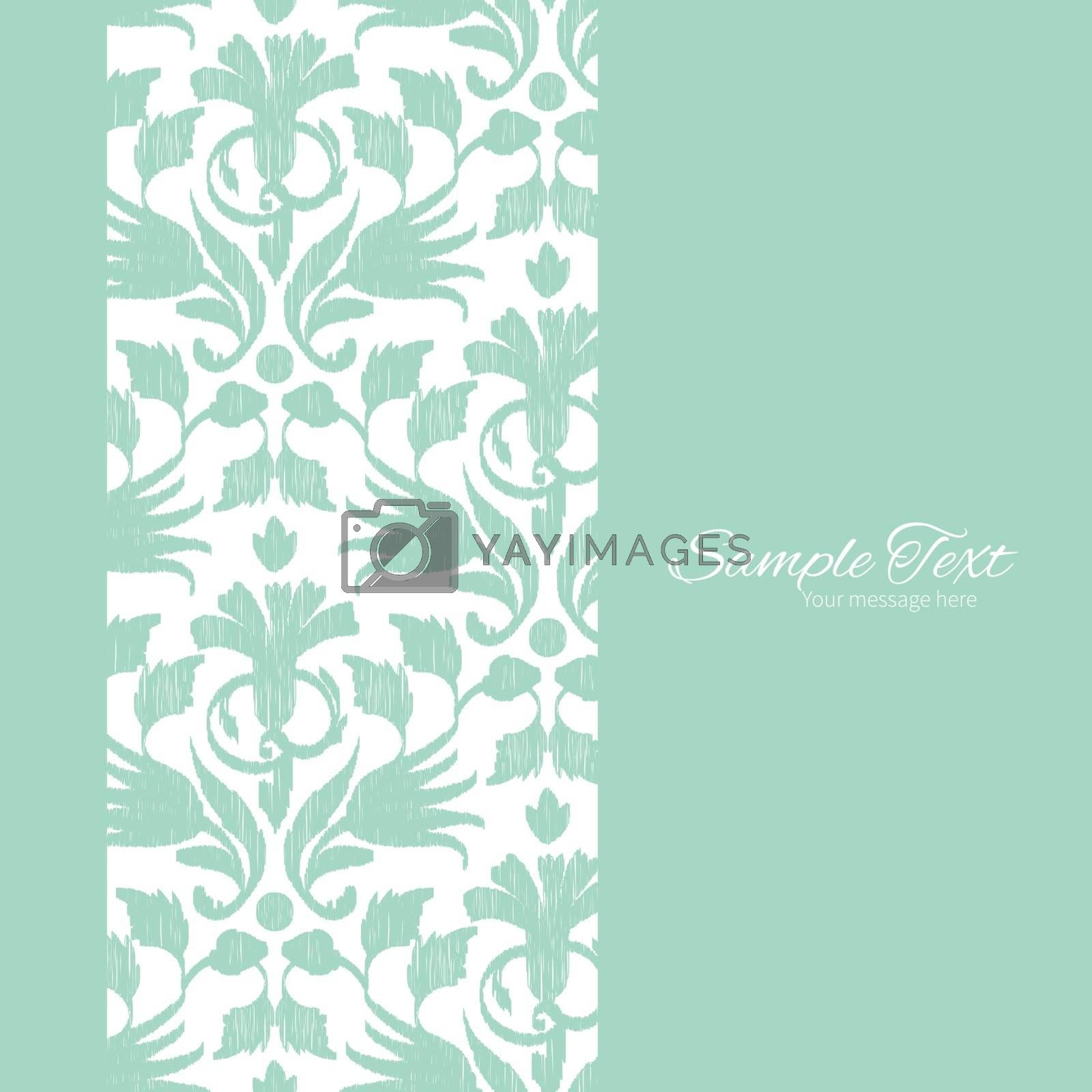 Vector abstract green ikat vertical frame seamless pattern background graphic design