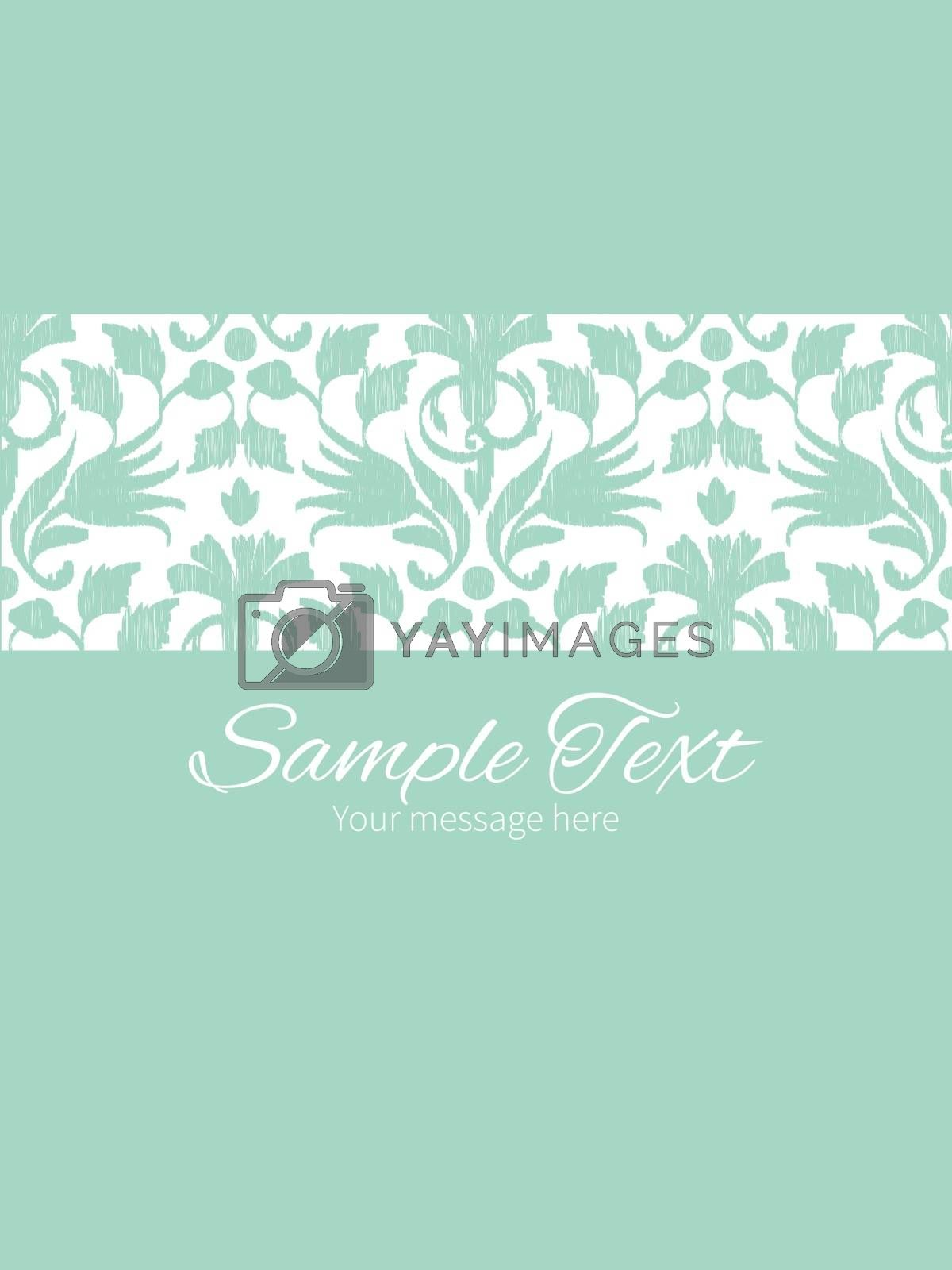 Royalty free image of Vector abstract green ikat stripe frame vertical card invitation by Oksancia