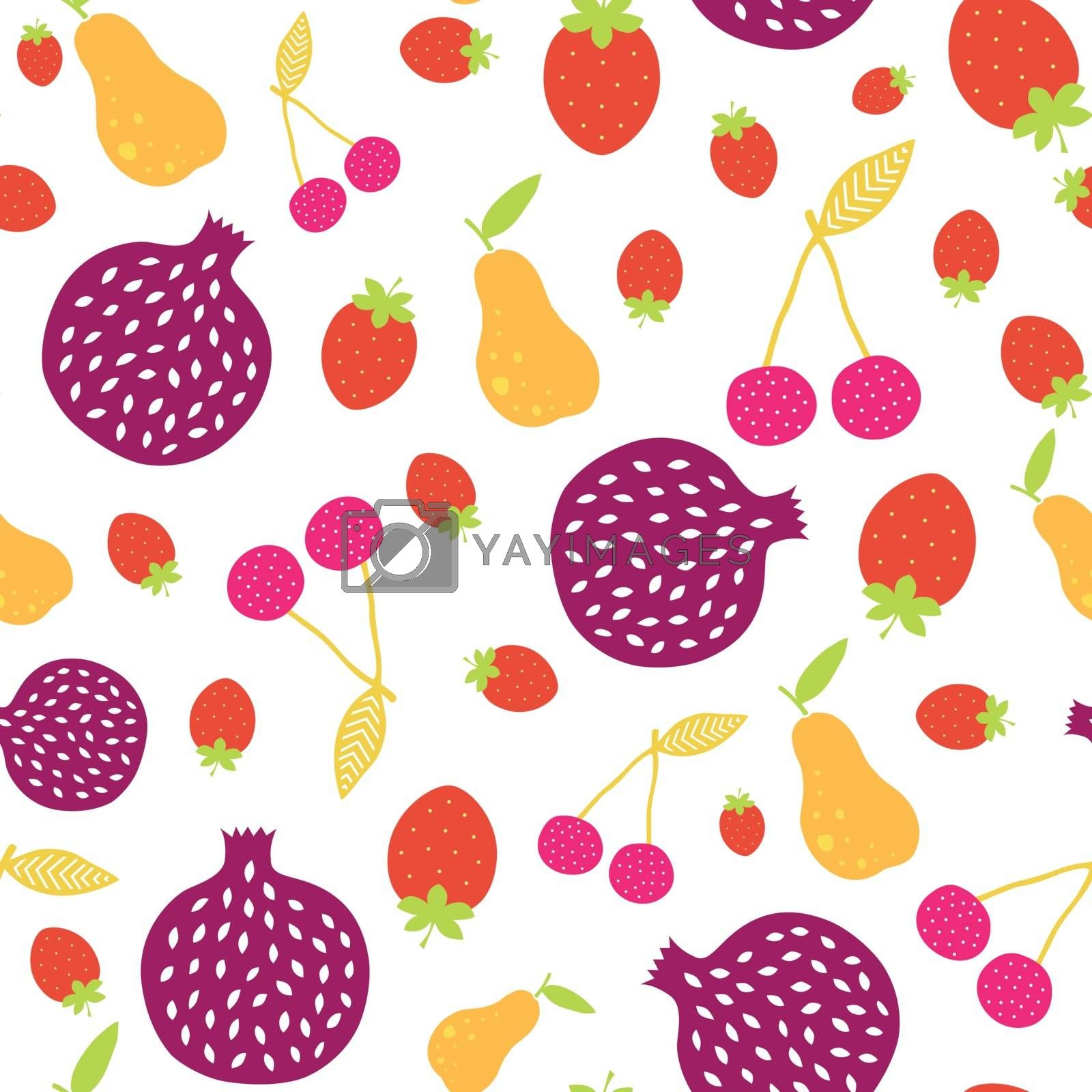 Vector Fun Colorful Fruit Seamless Pattern graphic design