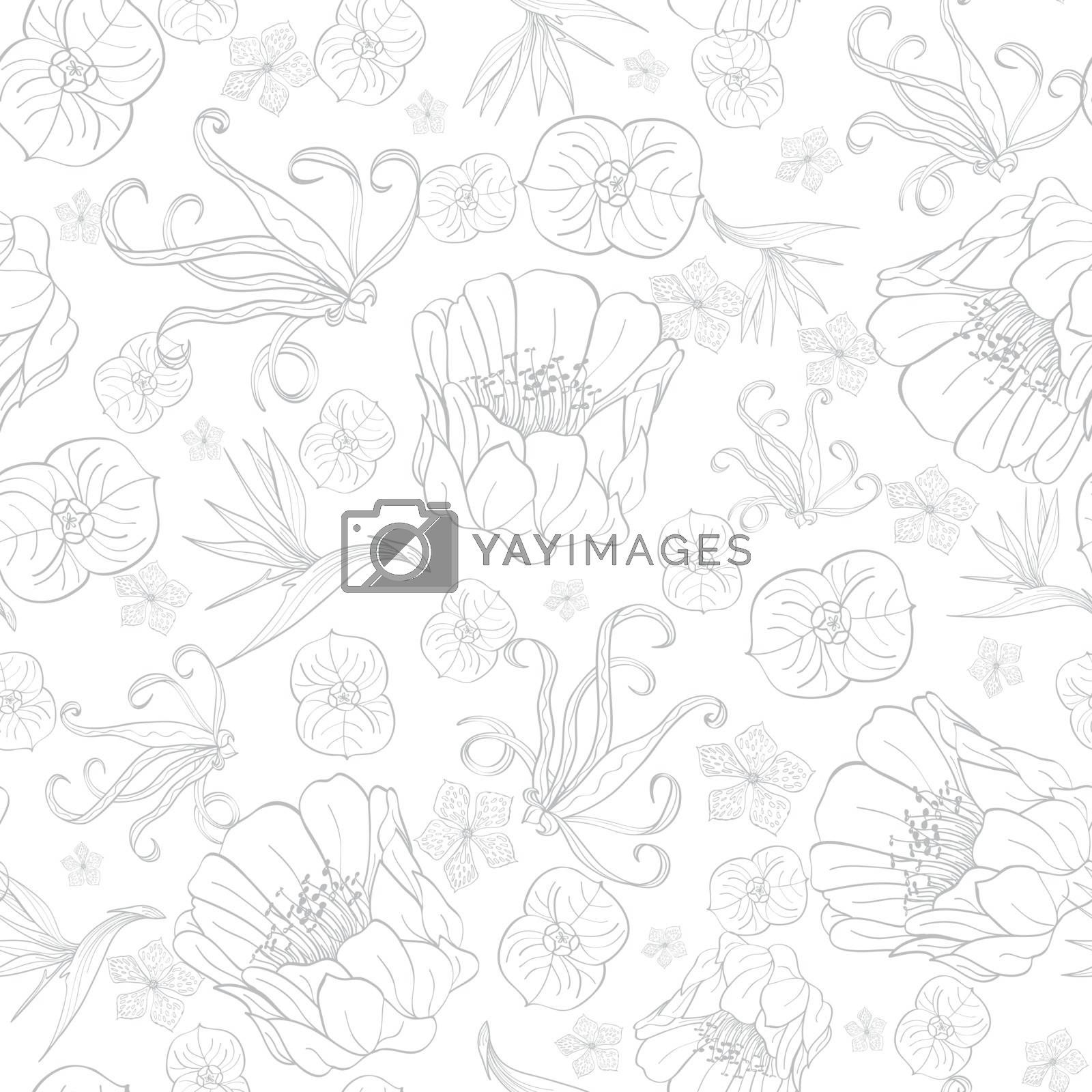 Royalty free image of Vector Gray Drawing Tropical Flowers Seamless Pattern by Oksancia