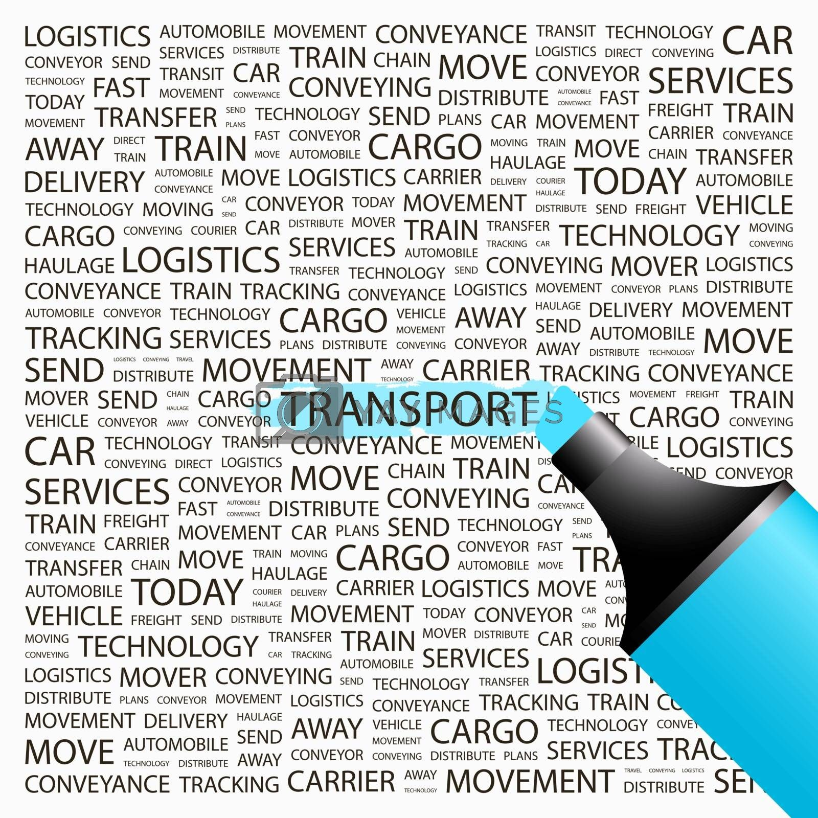 TRANSPORT. Word cloud illustration. Tag cloud concept collage.