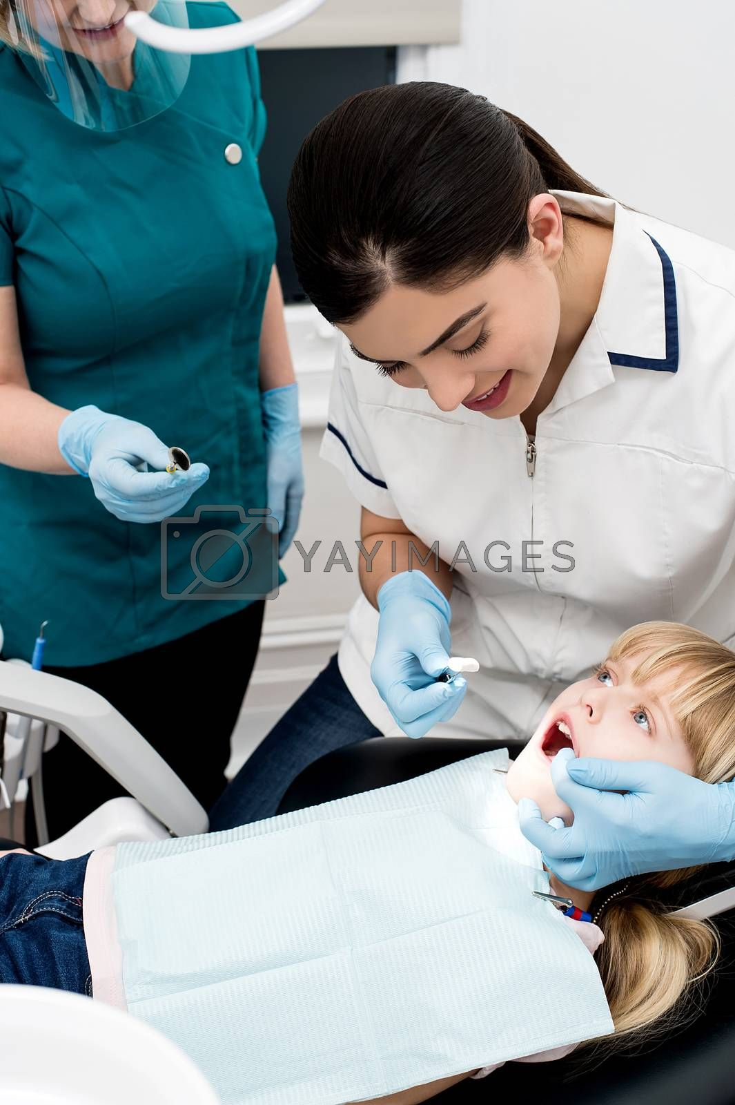 Professional dentist performing a dental procedure