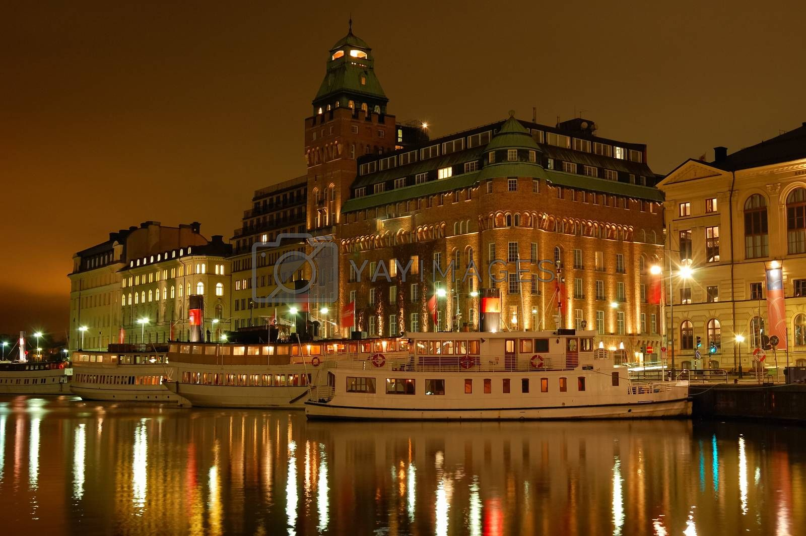 Stockholm embankment with boats.