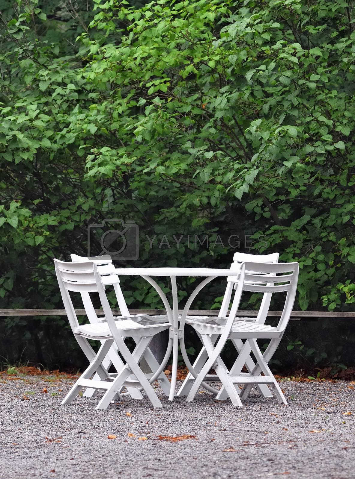 White Outdoor garden furniture lounge.