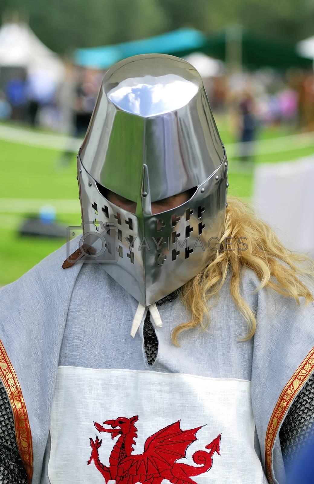 Knight's helmet in medieval style.