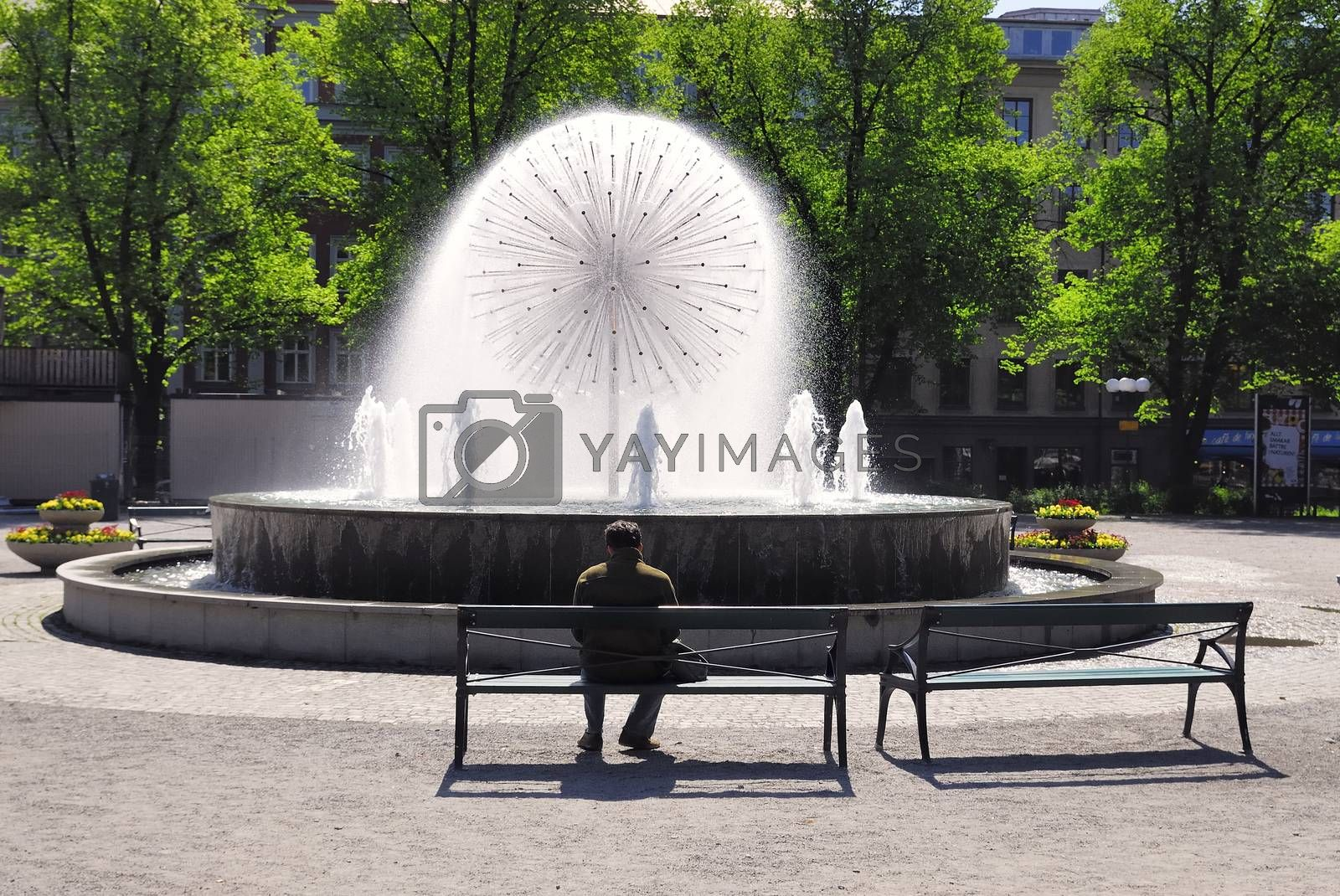 An fountain at Norrabantorget in the cetral of Stockholm (Sweden).