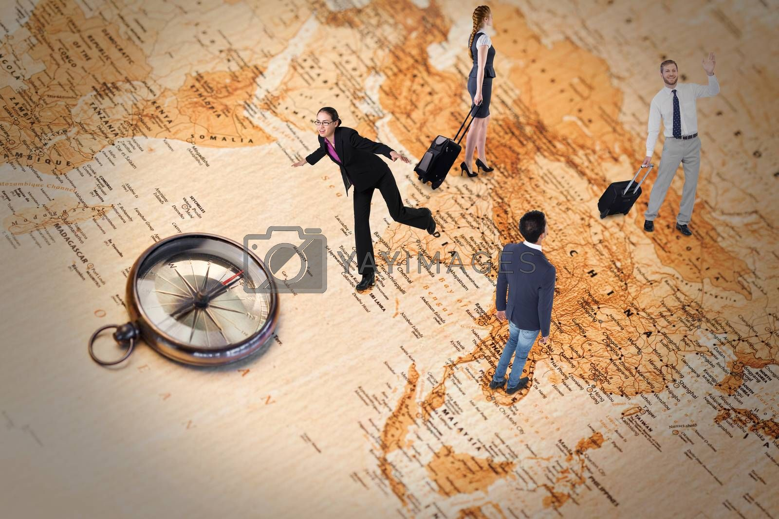 Handsome businessman with suitcase waving against world map with compass showing southern asia