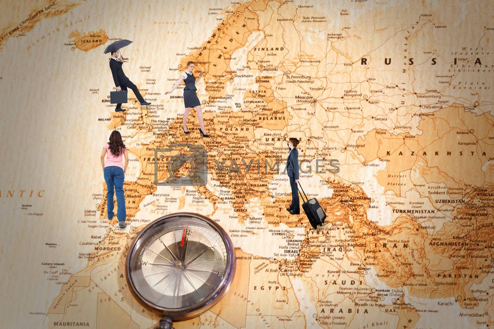 Businessman holding briefcase under umbrella against world map with compass showing europe and the middle east