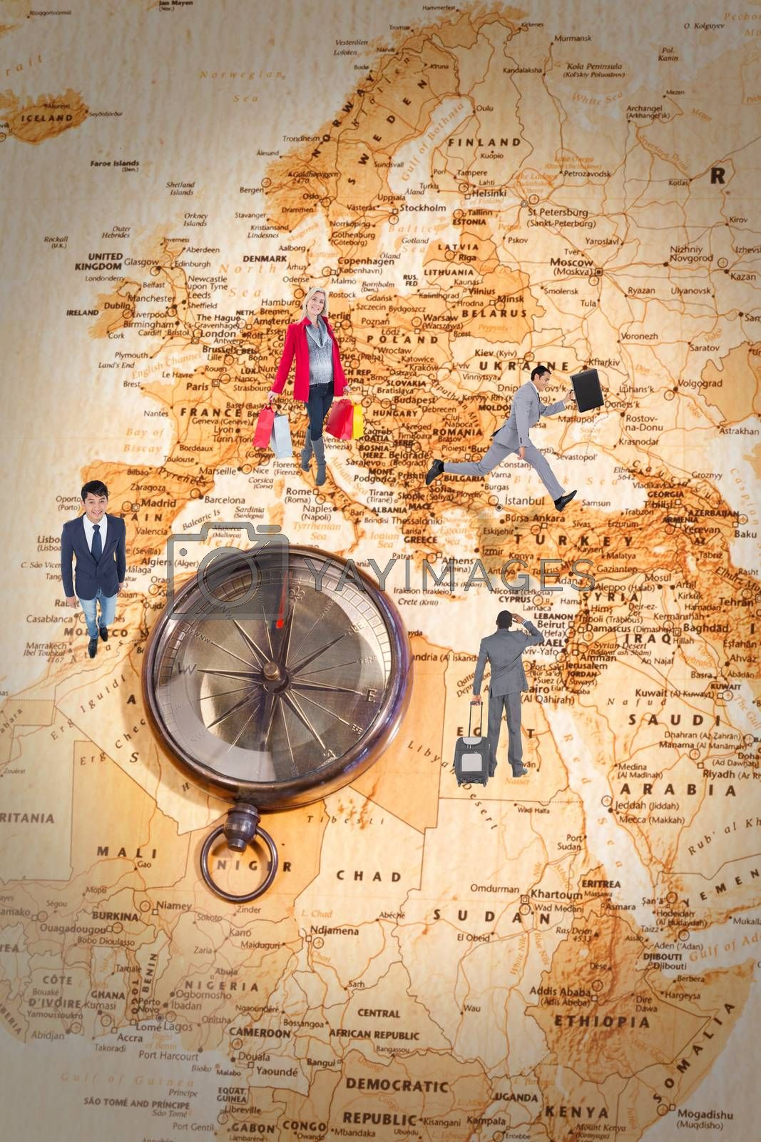 Happy blonde in winter clothes holding shopping bags against world map with compass showing north africa and europe