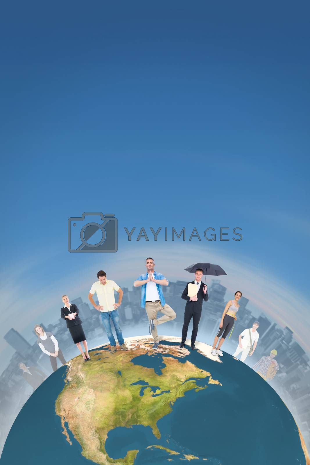 People standing on the world against stony path leading to large city on the horizon