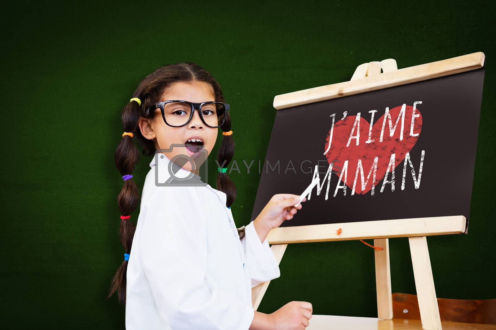 Cute pupil with chalkboard against green