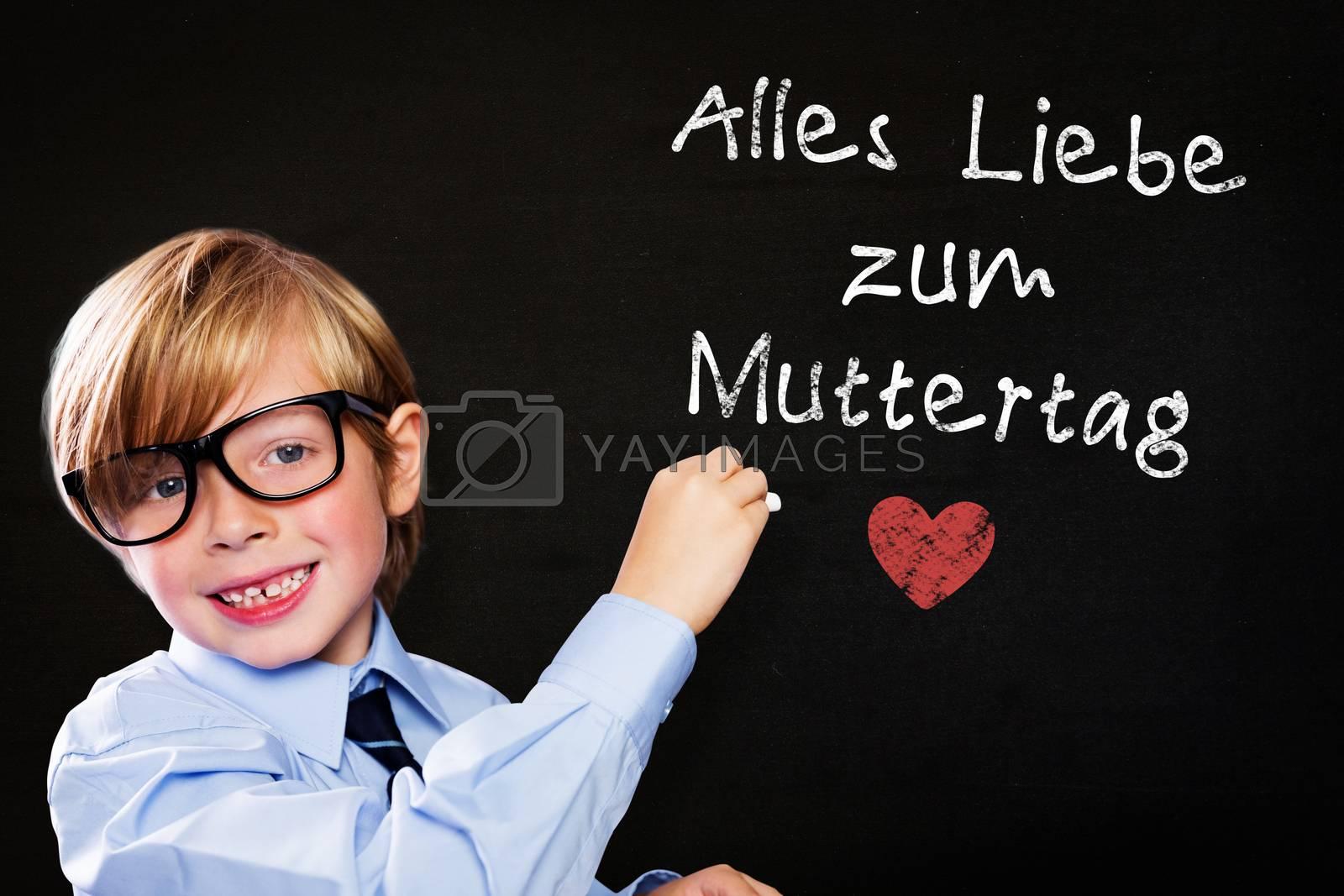 Cute pupil writing against black