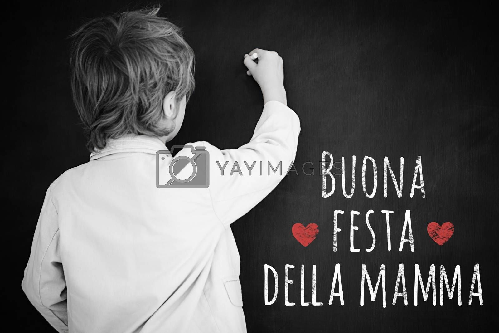 Schoolchild with blackboard against italian mothers day message