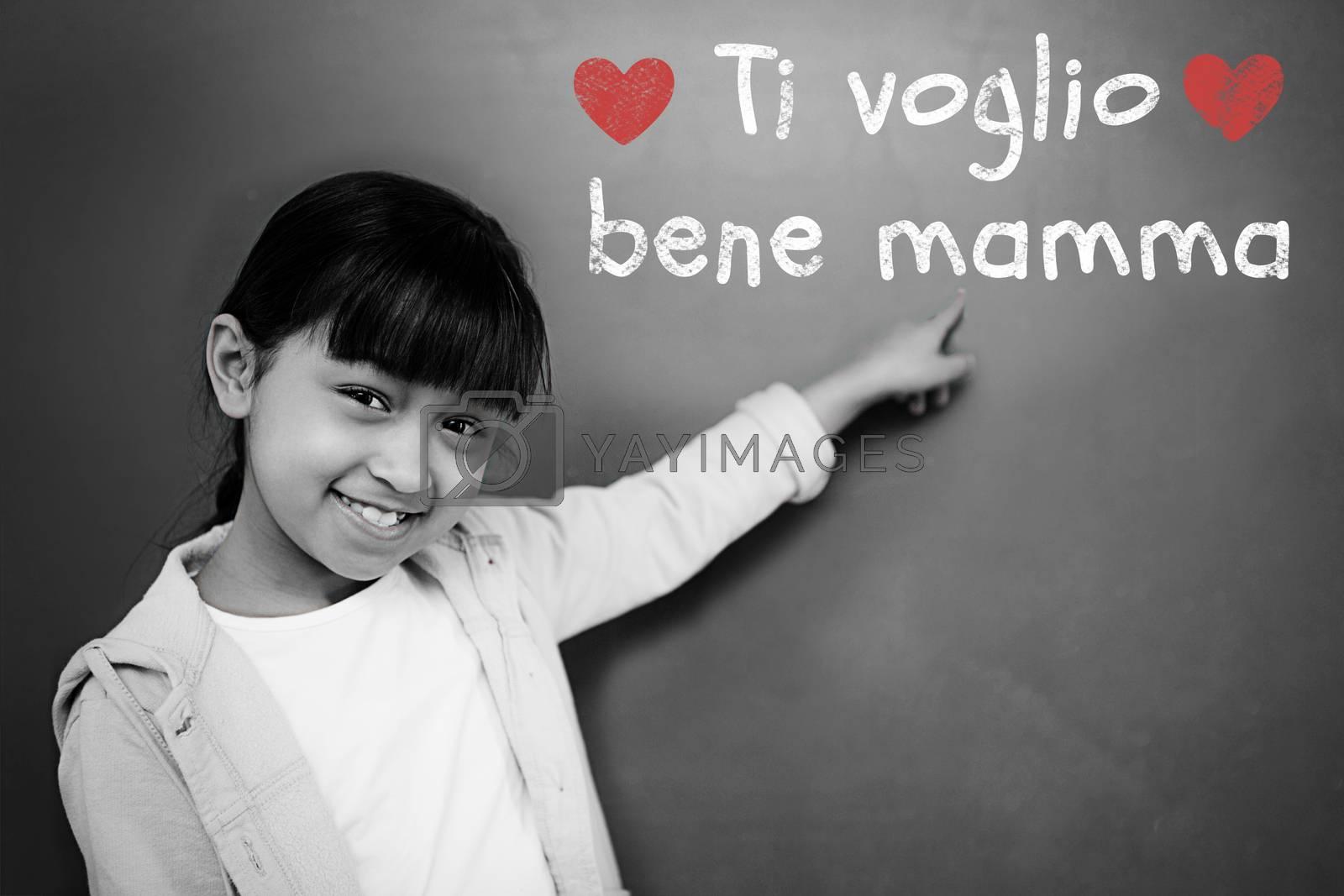 Italian mothers day message against schoolchild with blackboard
