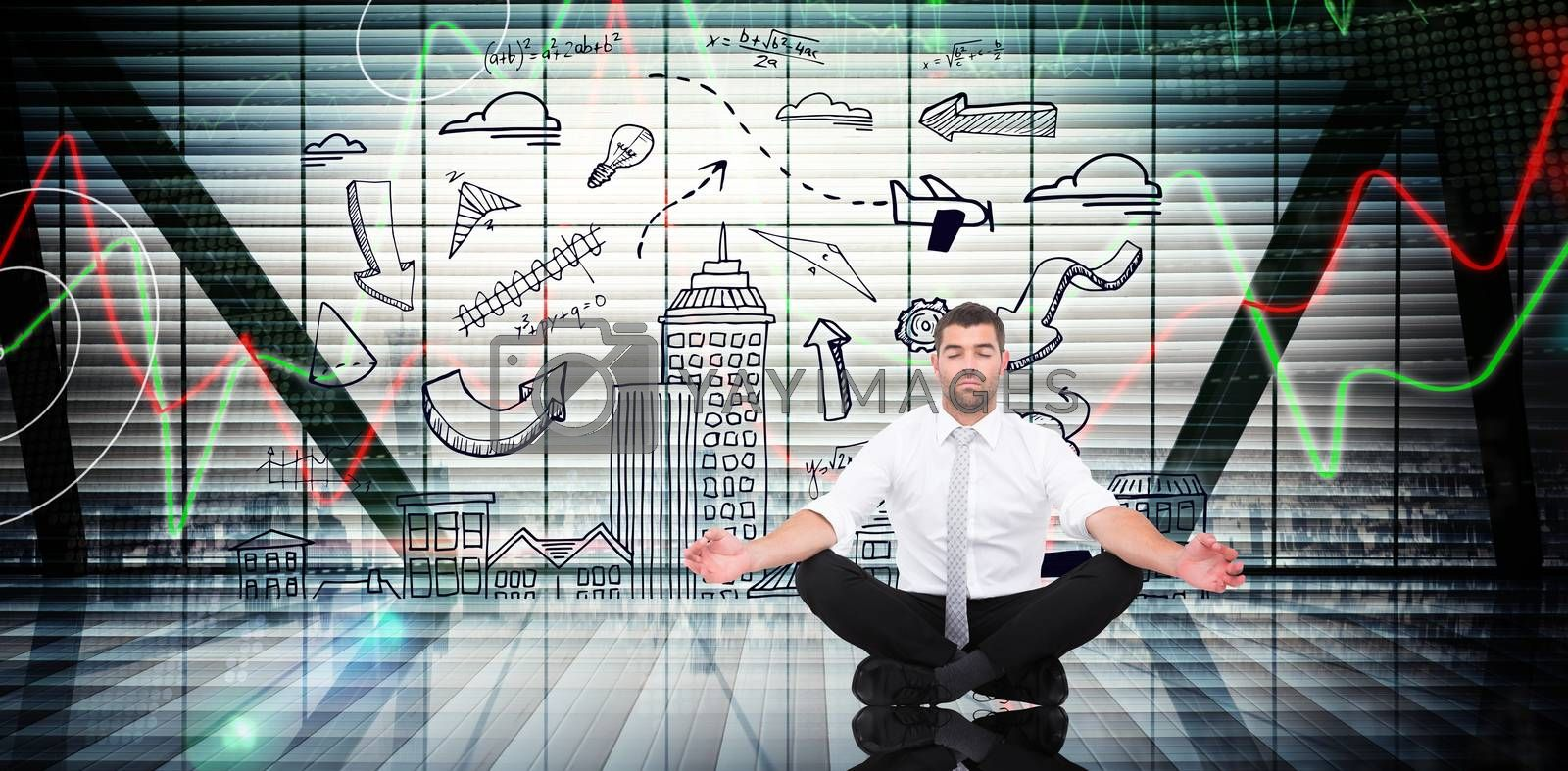 Businessman meditating in lotus pose against stocks and shares on black background