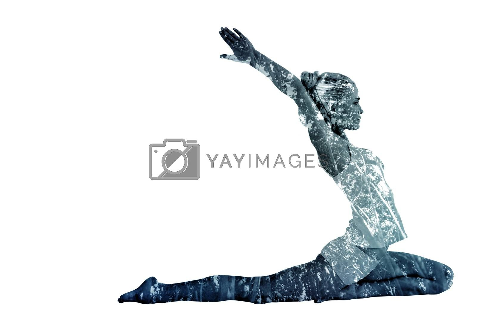 Toned young woman stretching hands backwards against low angle view of trees
