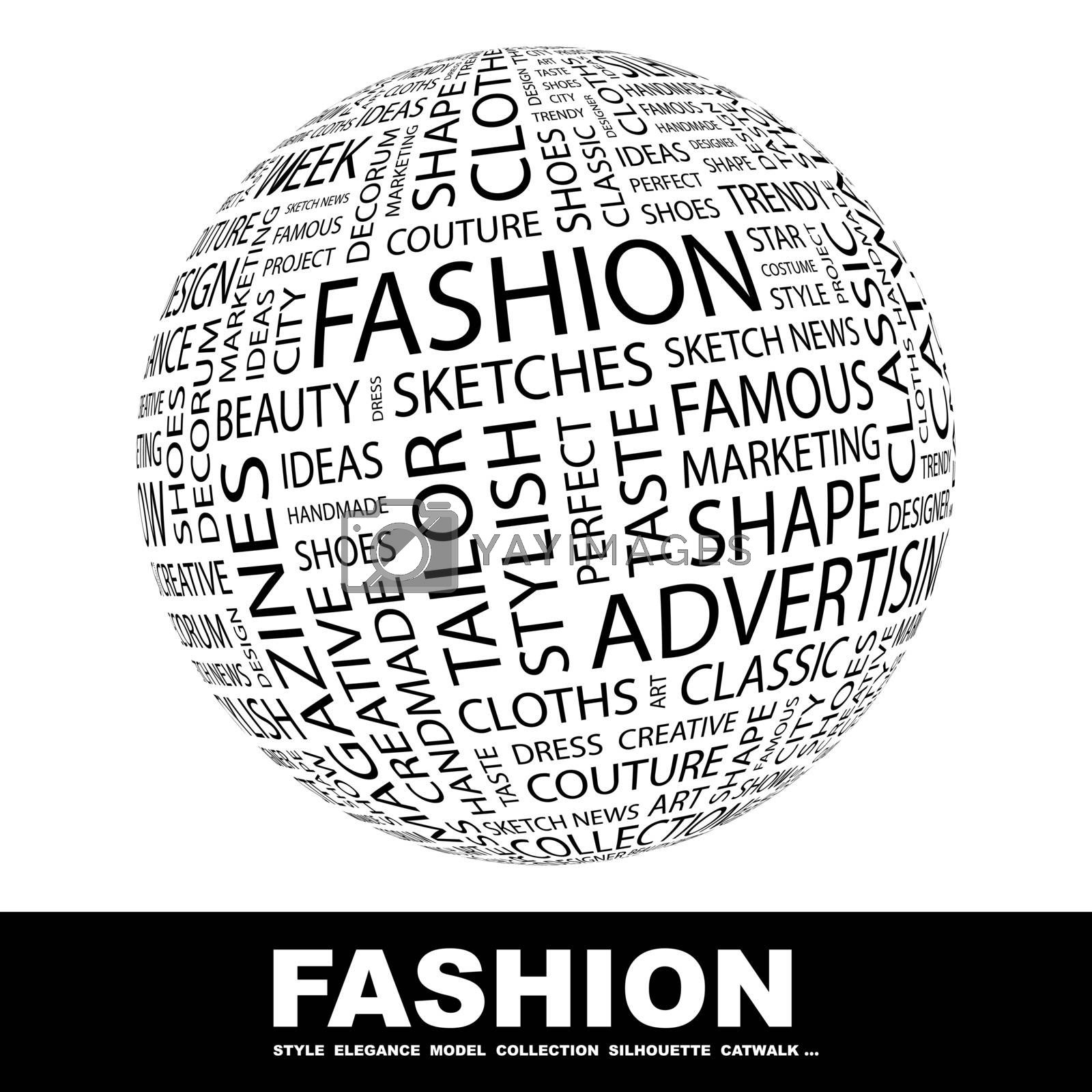 FASHION. Background concept wordcloud illustration. Print concept word cloud. Graphic collage.