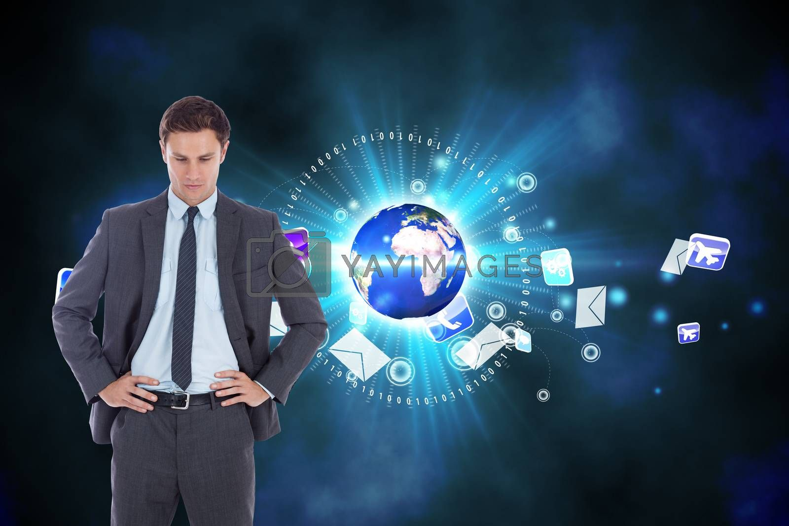 Serious businessman with hands on hips against global communication background