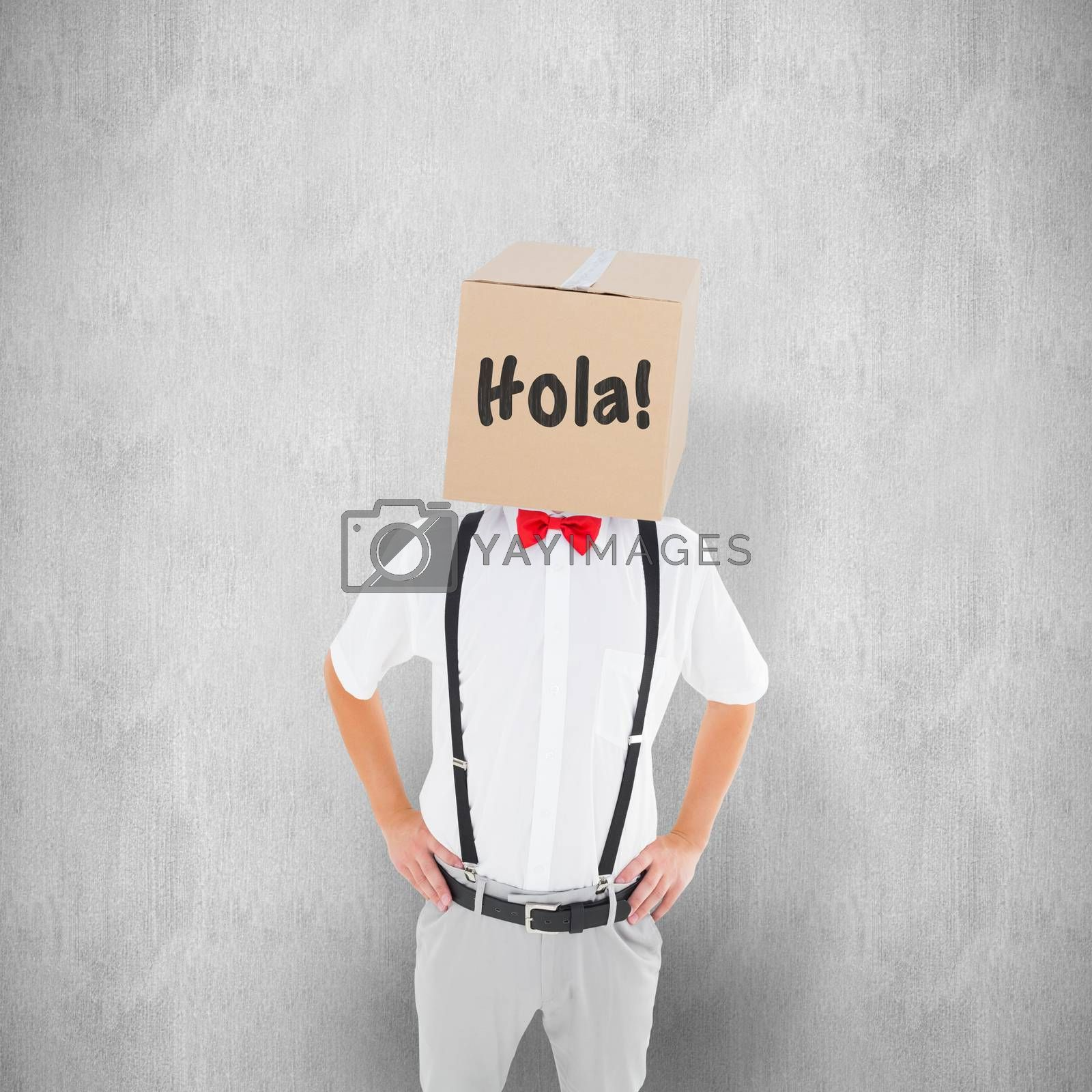 Anonymous businessman against white background