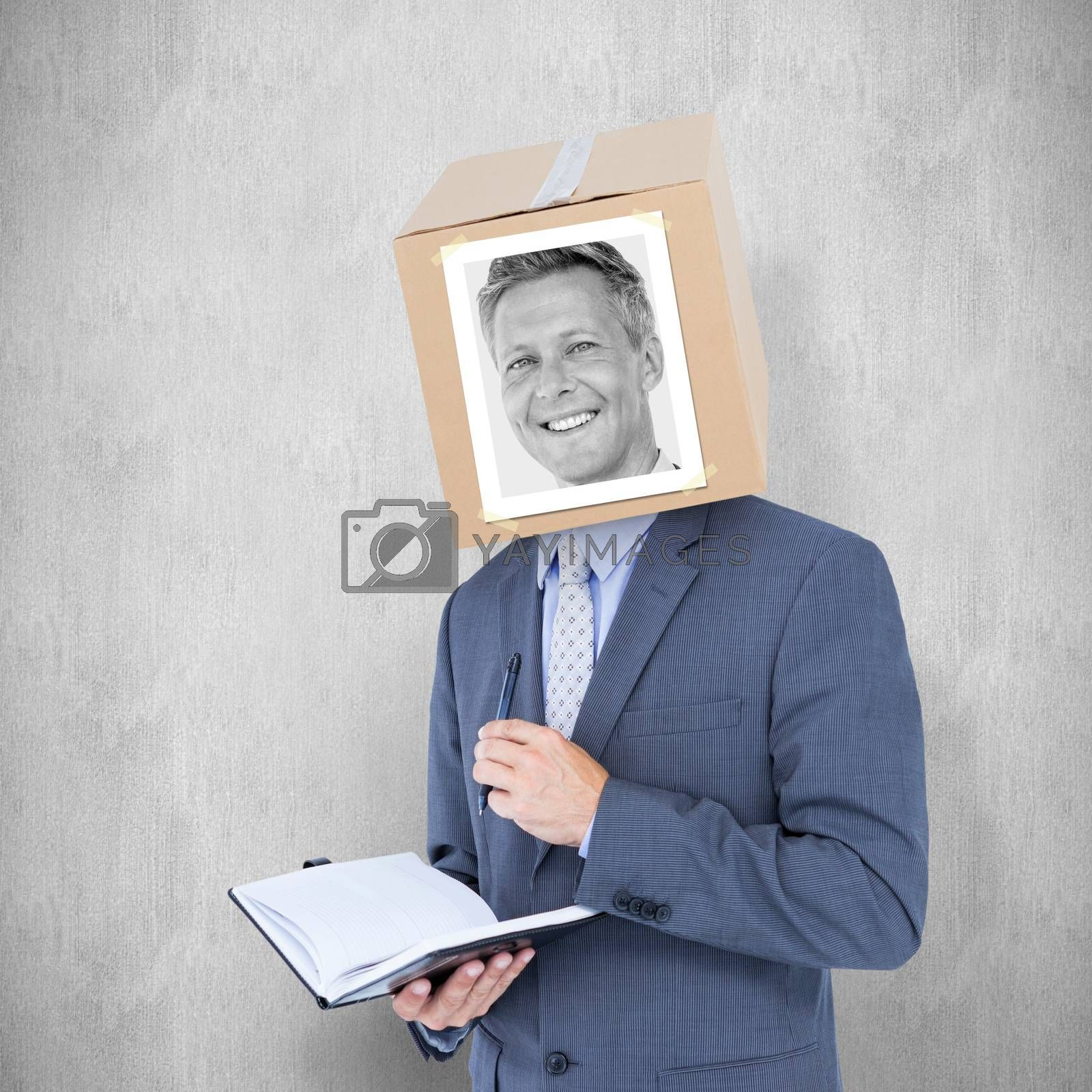 Businessman with photo box on head against white background