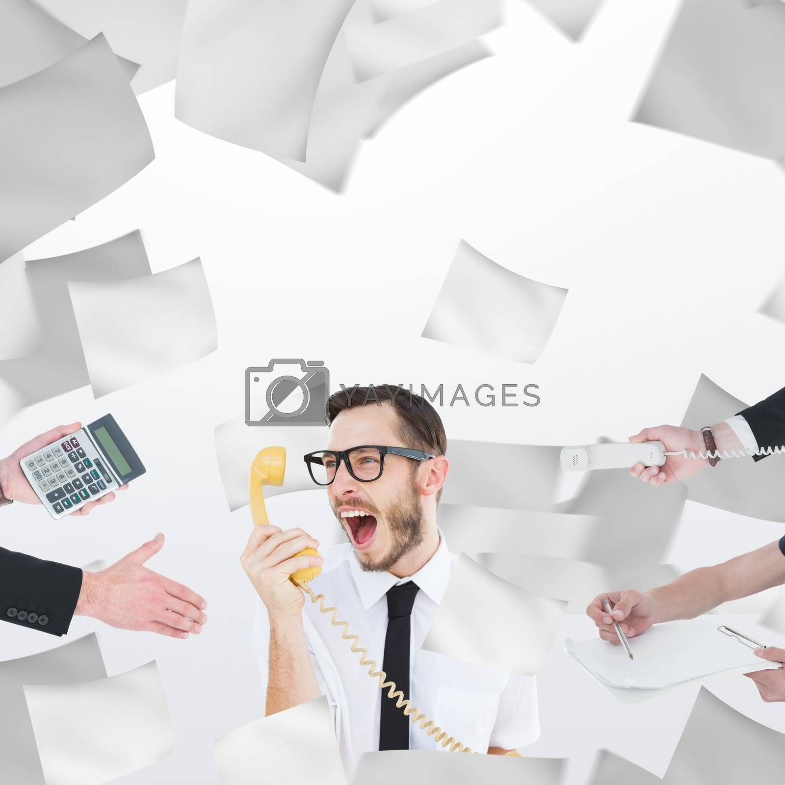 Businessman in suit offering his hand against sheets of paper flying