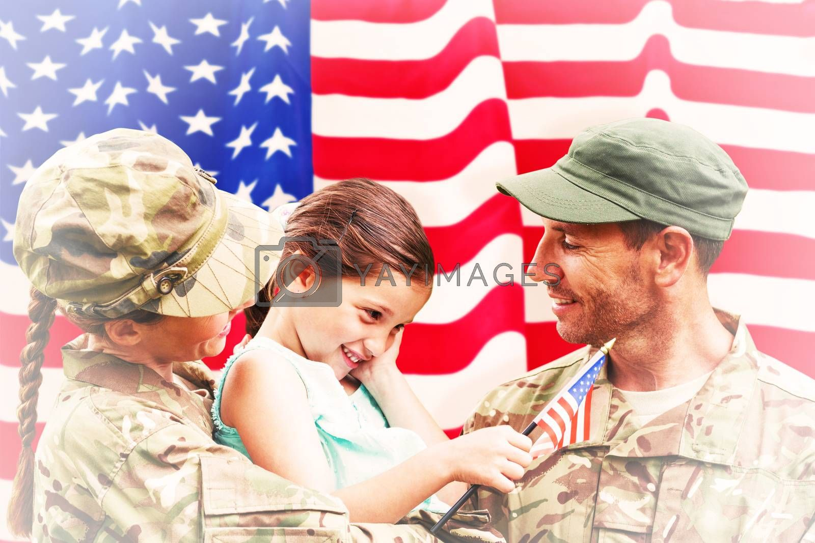 Soldiers reunited with daughter against rippled us flag