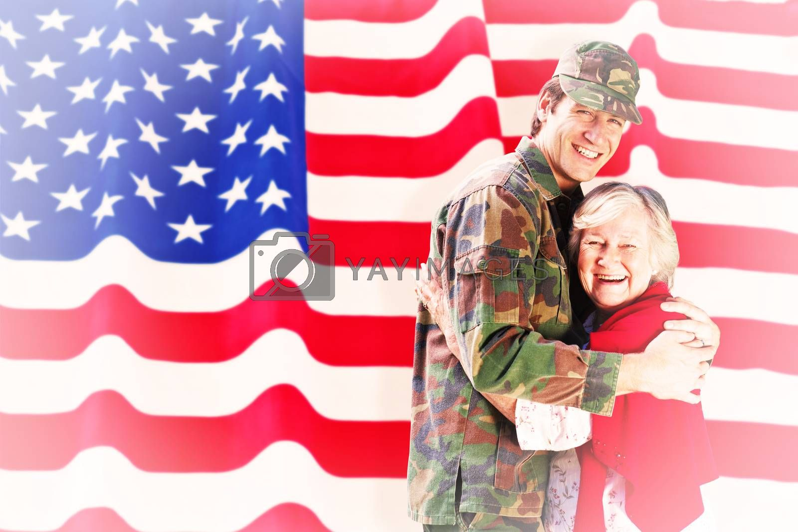 Composite image of solider reunited with mother by Wavebreakmedia