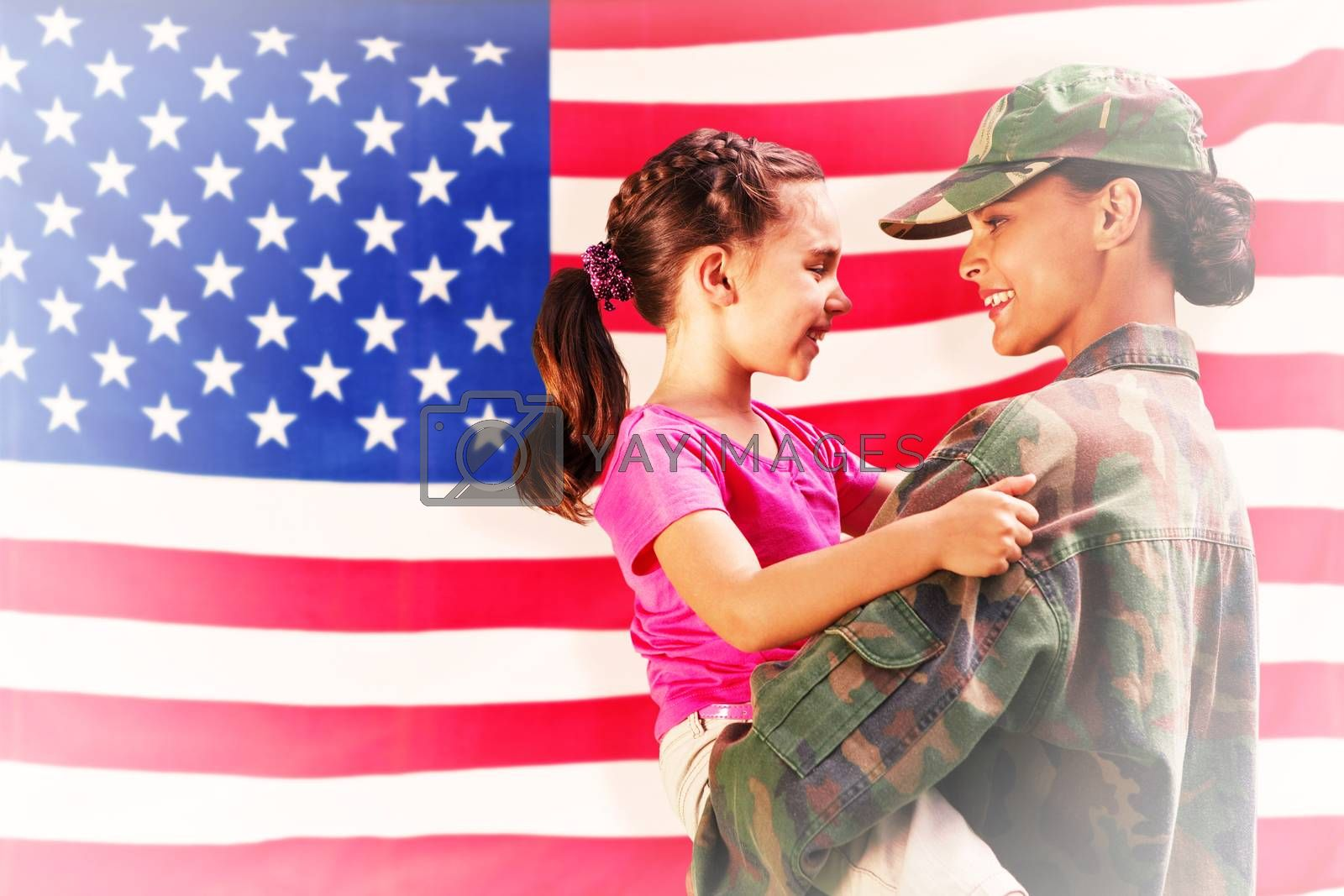 Composite image of solider reunited with daughter by Wavebreakmedia