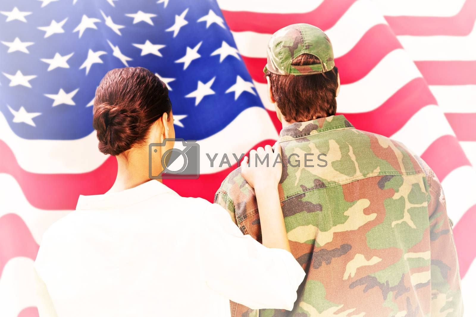 Composite image of army wife reunited with husband by Wavebreakmedia