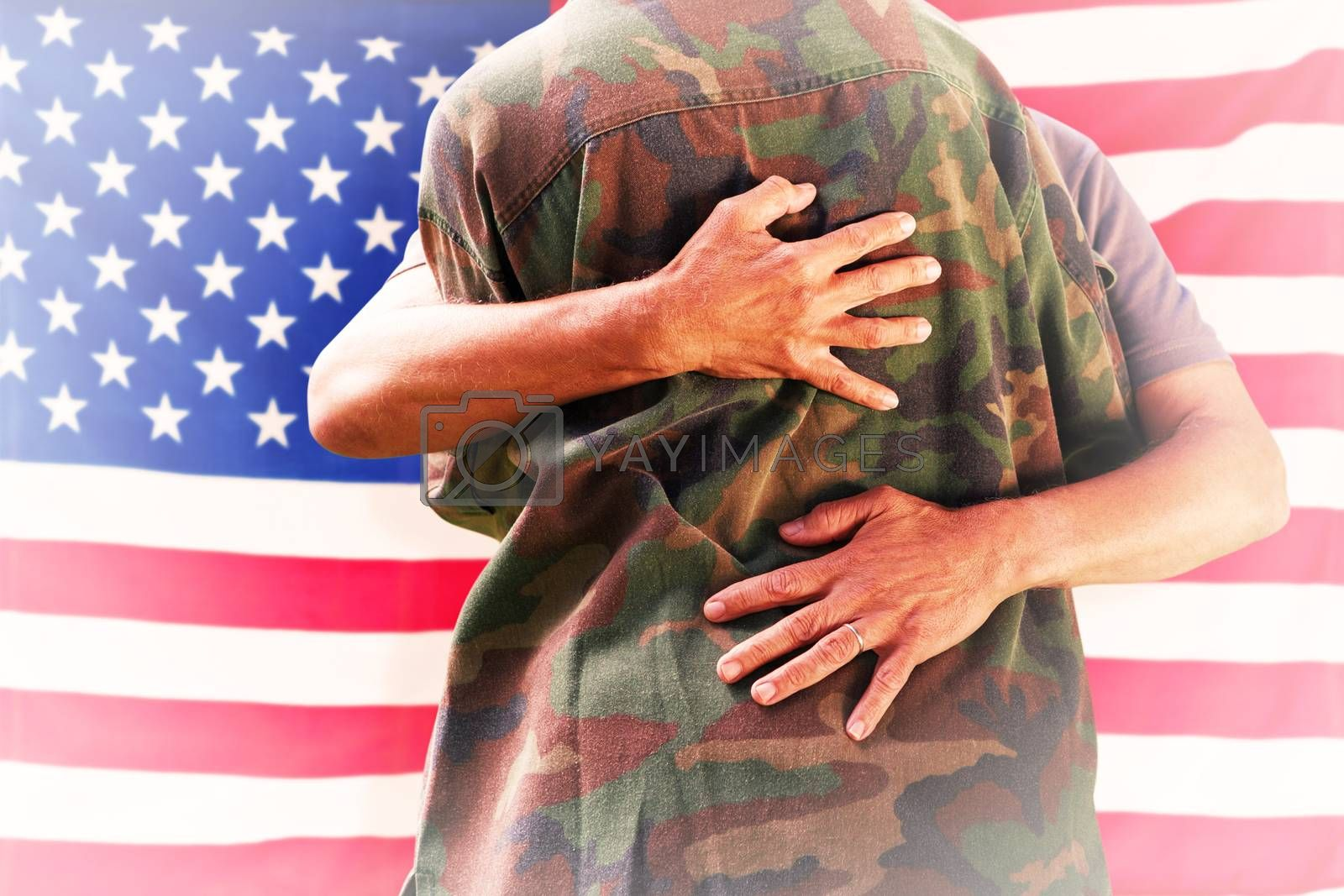 Composite image of solider reunited with father by Wavebreakmedia