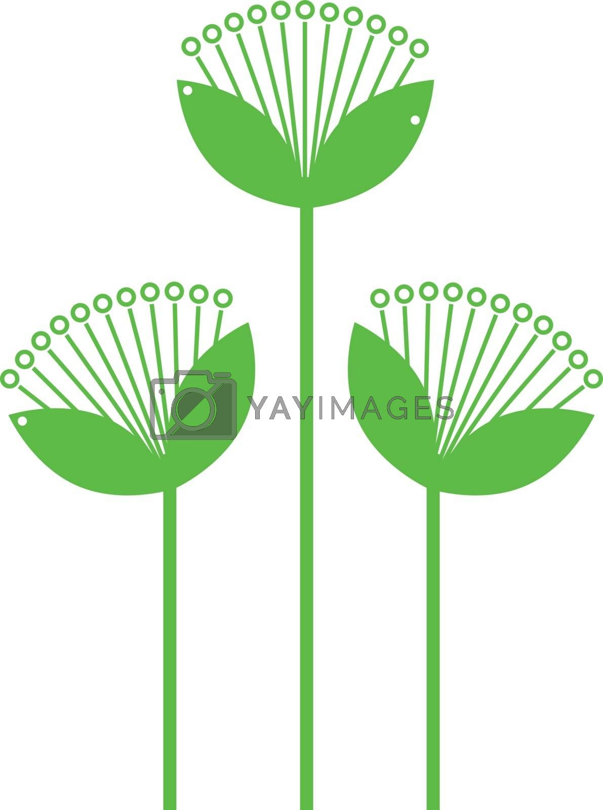 Green Flowers Line art isolated on white by Lordalea
