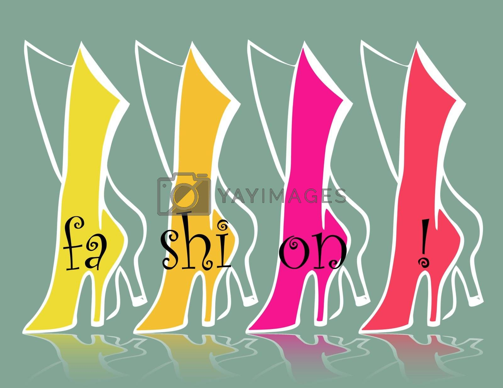 fashion backgrounds with green, yellow, pink and red boots