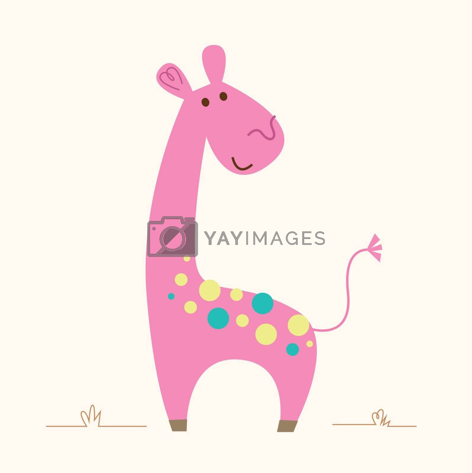 Cute pink Giraffe character for baby room by Lordalea