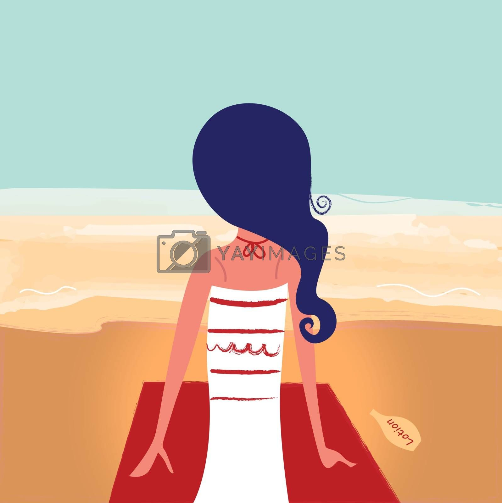 Summer girl in retro style. Vector cartoon Illustration