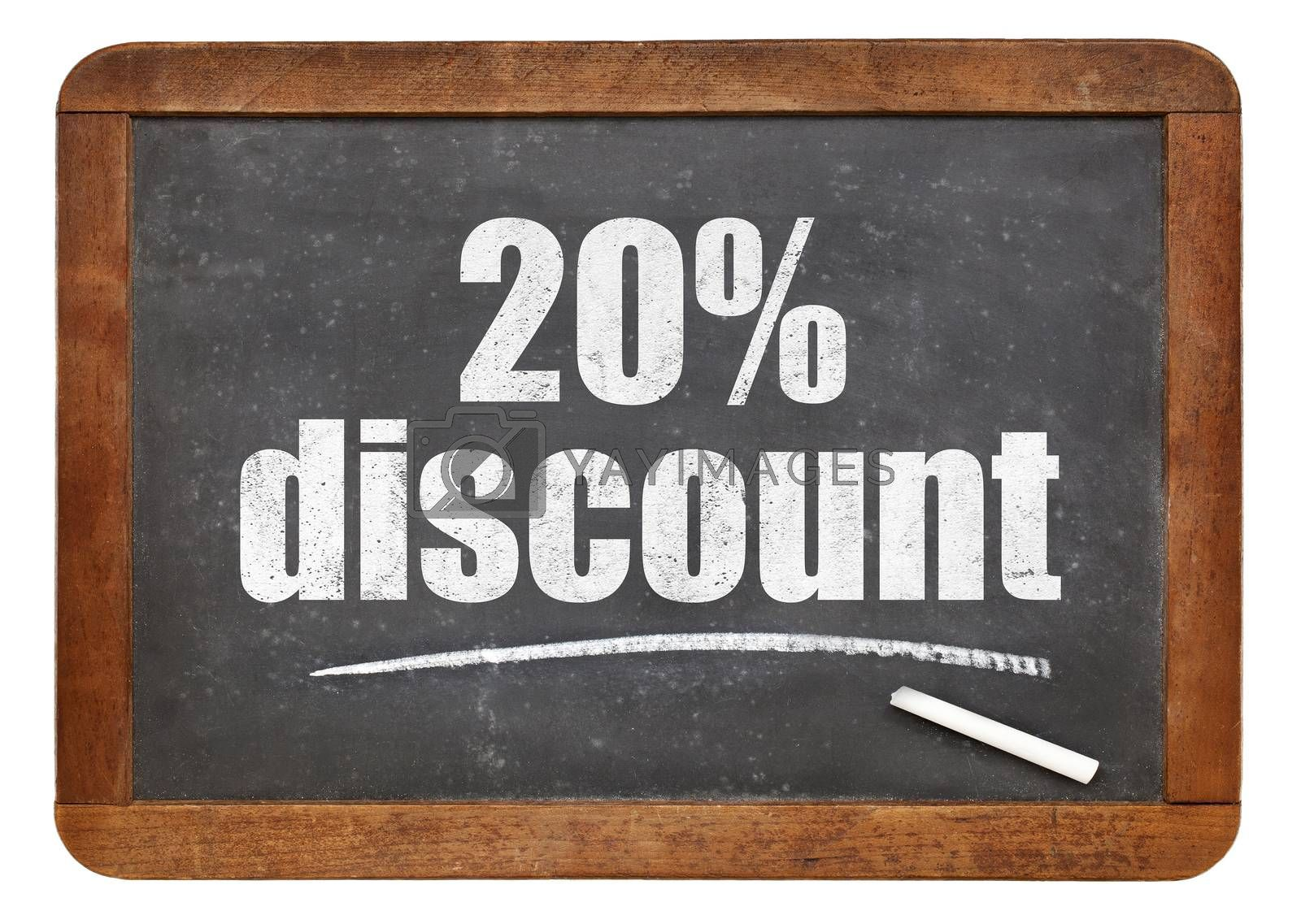 twenty percent discount sign - white chalk text on an isolated  vintage slate blackboard