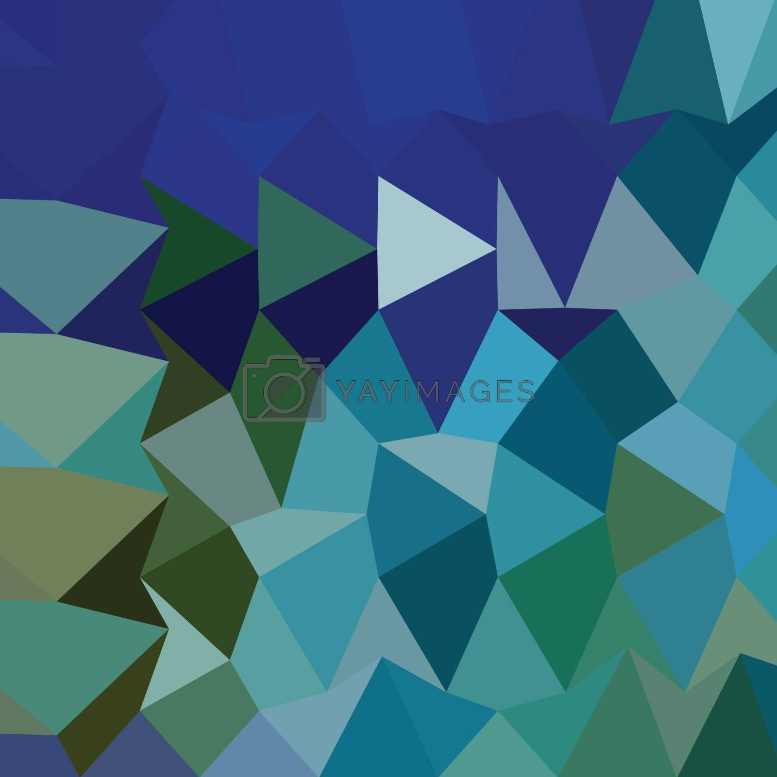 Low polygon style illustration of a blue pigment abstract geometric background.