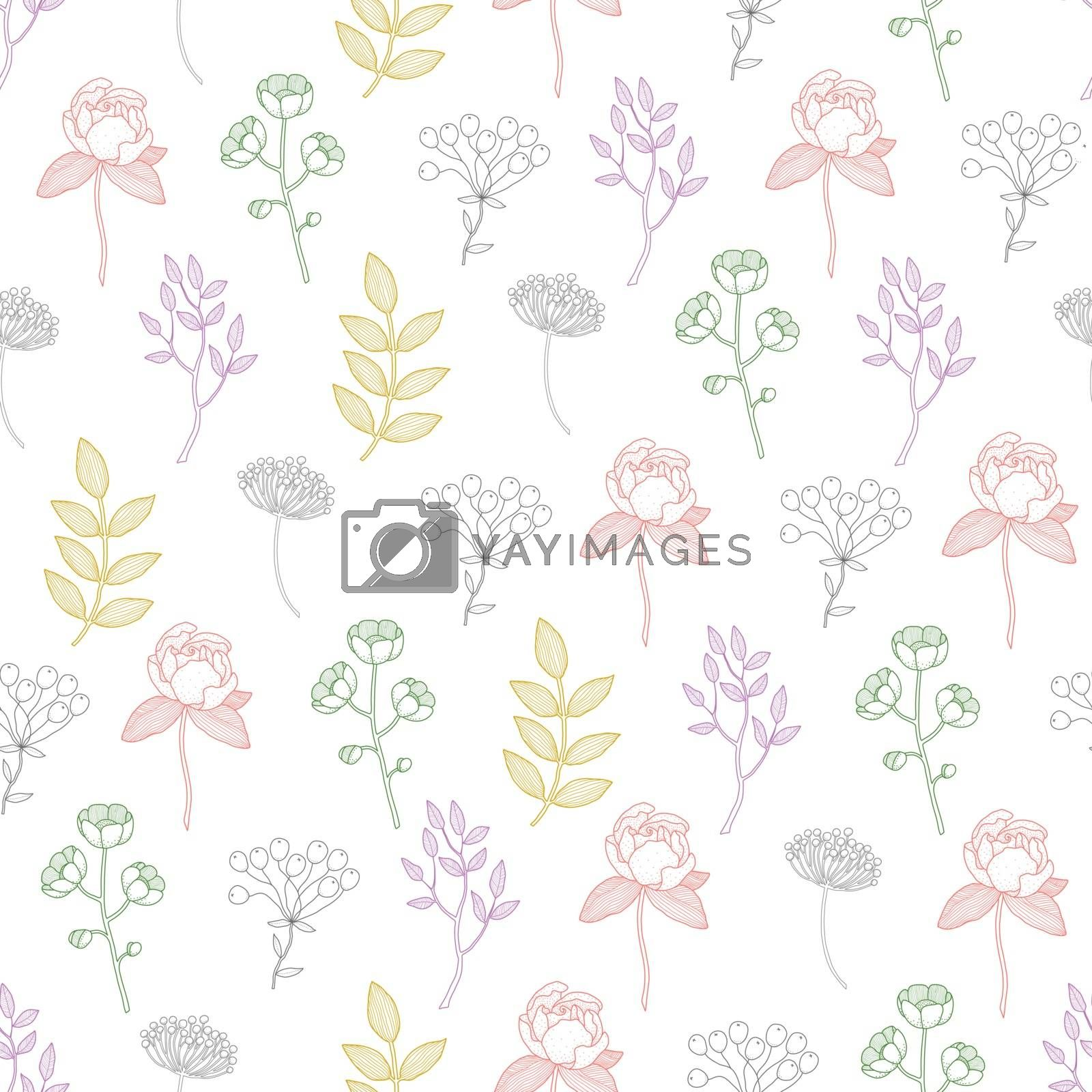 Royalty free image of Vector Colorful Growing Plants Line Art Seamless Pattern by Oksancia