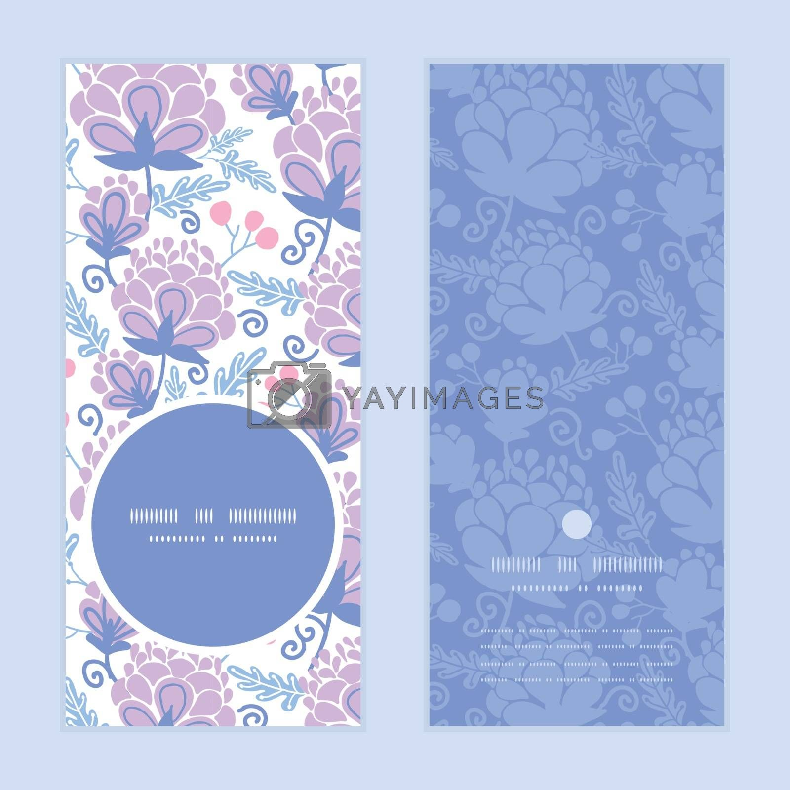 Royalty free image of Vector soft purple flowers vertical round frame pattern invitation greeting cards set by Oksancia