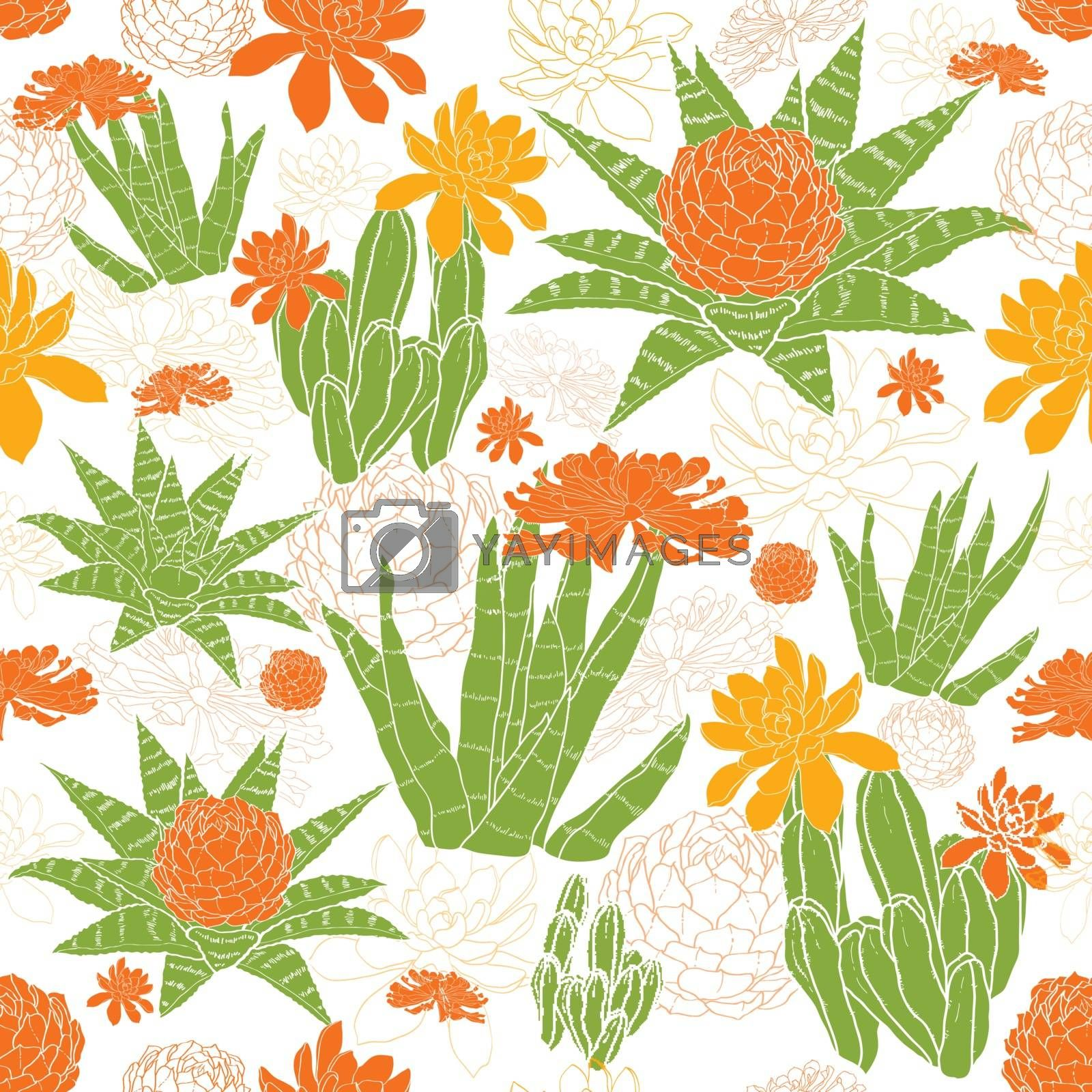 Royalty free image of Vector Green Golden Succulents Seamless Pattern by Oksancia